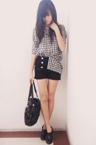 white shirt - black Gaudi shorts - black Chrysalis boots - black Esprit