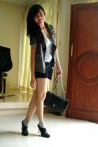silver Gap t-shirt - gray Gaudi blazer - black Gaudi pants - black Chrysalis boo