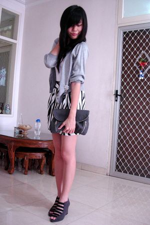 silver cardigan - black skirt - gray - gray