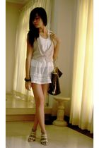 white Gaudi dress - beige Charles & Keith shoes - brown Louis Vuitton purse