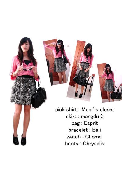 shirt - skirt - Esprit - Chrysalis boots - dior sunglasses