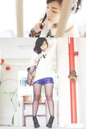 black H&M boots - ivory crew-neck H&M sweater - light orange Forever 21 bag