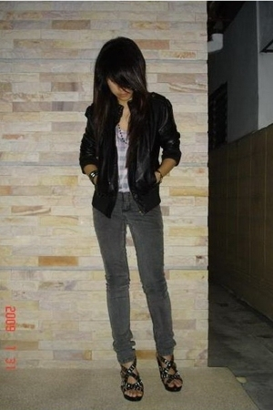 f21 jacket - Cheap Monday jeans - Jeffrey Campbell shoes