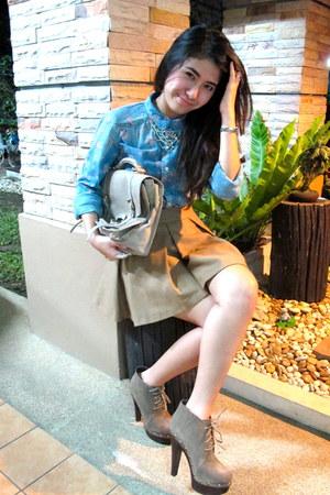 sky blue Bershka shirt - camel Topshop skirt - dark khaki Steve Madden boots - b