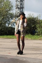 bowler hat H&M hat - Cheap Monday shoes - army thrifted vintage jacket