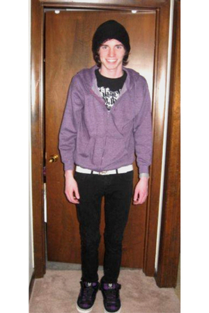 purple vox shoes - black social collision jeans - black Band tee t-shirt - purpl