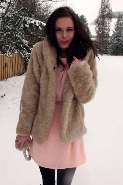 fake fur H&M jacket - chiffon H&M dress