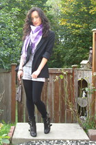 amethyst Bella Luna scarf - black belted Pretty Small Shoes boots