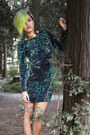 Black-tuk-shoes-dark-green-gabby-dress-motel-dress-gold-galisfly-ring