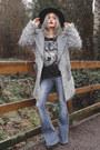 Black-felt-boater-asos-hat-heather-gray-shaggy-asos-jacket