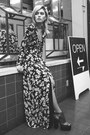 Black-missguided-dress-charcoal-gray-la-moda-heels