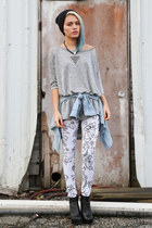 black OASAP necklace - white homage leggings civil clothing leggings