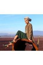 bronze Xander Vintage coat - dark green polka-dot skirt Xander Vintage skirt