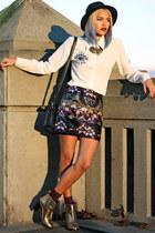 gold nastygal boots - white eye blouse JollyChic blouse