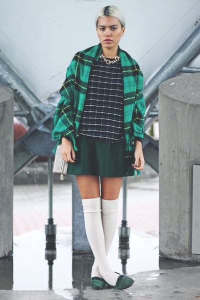 green plaid H&M scarf - tan Forever 21 bag - dark green a-line OASAP skirt