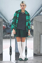green plaid H&M scarf - tan Forever 21 bag - dark green a-line OASAP skirt