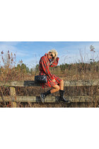 ruby red Xander Vintage jacket - black tall boots doc martens boots