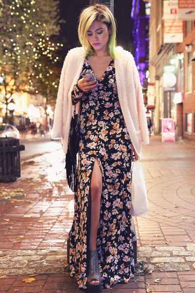 black Missguided dress - charcoal gray la moda heels