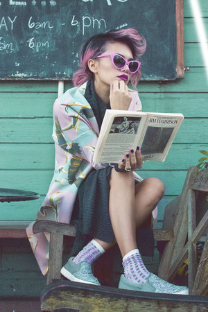 dark gray turtleneck H&M dress - light pink bird short H&M coat