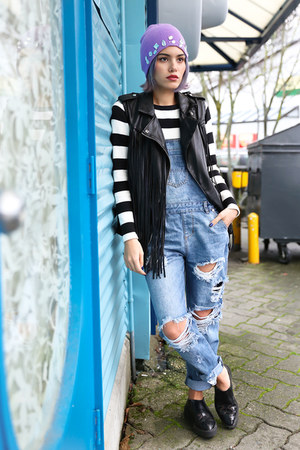 blue One Teaspoon jeans - black fringe leather BLANKNYC vest