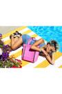 Sky-blue-denim-dress-black-five-dress-hot-pink-tayla-tote-la-moda-purse