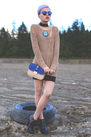 blue zeroUV glasses - tan dex clothing sweater - eggshell Chicwish tights