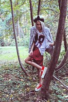 red tartan Xander Vintage skirt - silver faux fur H&M jacket