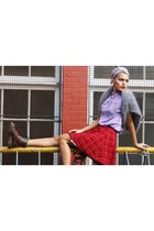 periwinkle fuzzy Xander Vintage sweater - maroon textured doc martens boots