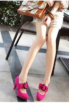 hot pink pumps - charcoal gray pumps - dark green pumps - black pumps