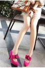 Hot-pink-pumps-charcoal-gray-pumps-dark-green-pumps-black-pumps
