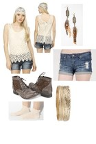 lace-up boots - jeans shorts - ruffled ankle socks - bracelet - lace top - feath