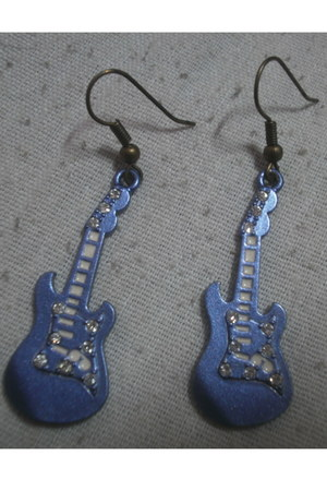 blue guitar shaped Korean Fashion earrings - purple circle wired ring - black ri