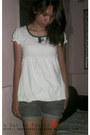 Gray-diy-shorts-white-bubble-top