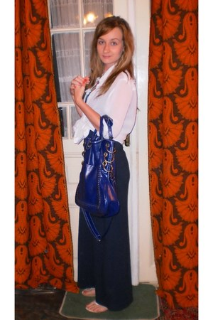 navy maxi H&M dress - blue leather Woodoo bag - white rose detailed no brand san