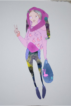 bunny detail bag - galaxy print pants - bunny eared hoodie