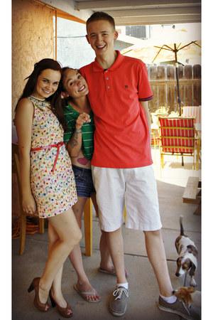 ruby red polka dot Forever 21 belt - tawny American Eagle heels