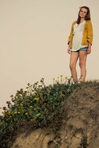 mustard crochet Forever 21 sweater - white tunic Mossimo shirt