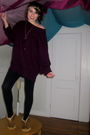 Red-gap-sweater-black-forever-21-leggings-brown-ll-bean-shoes-gold-forever