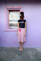 black vintage t-shirt - hot pink bag - pink Dorothy Perkins skirt
