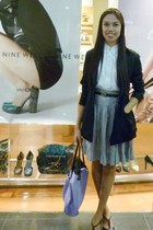 black vintage blazer - light purple Topshop bag - silver vintage skirt