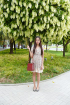 heather gray cherry printed vintage dress - brick red Prada bag