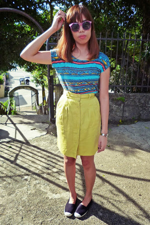 yellow Lacoste skirt - black espadrilles Random Brand from Philippines shoes