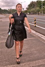 Black-dress-zara-dress-canvas-roxy-bag-necklace-roxy-necklace