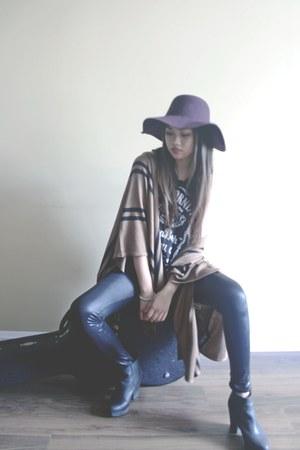 black Topshop boots - maroon American Apparel hat - black wilfred leggings
