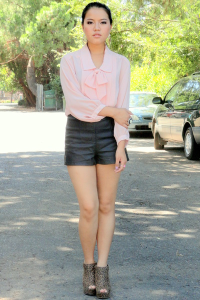black leather shorts shorts