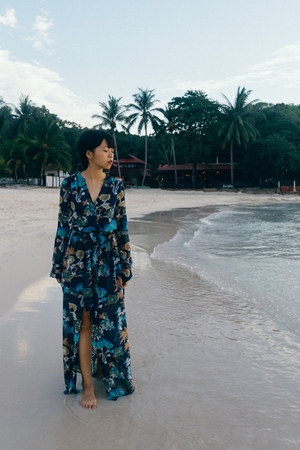 navy floral maxi H&M dress