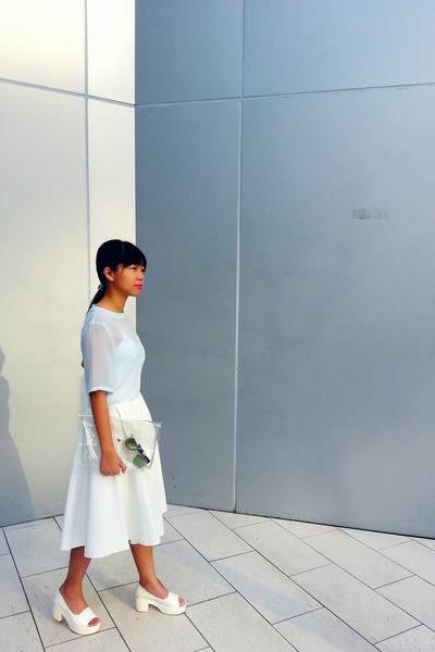 white Zara skirt - Dazzling Couture bag - light blue sheer crop H&M top