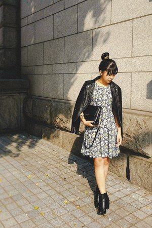 black H&M boots - navy H&M dress - black moto H&M jacket - black H&M bag