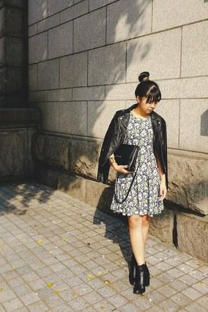 black H&M boots - navy H&M dress - black moto H&M jacket - black H&M bag