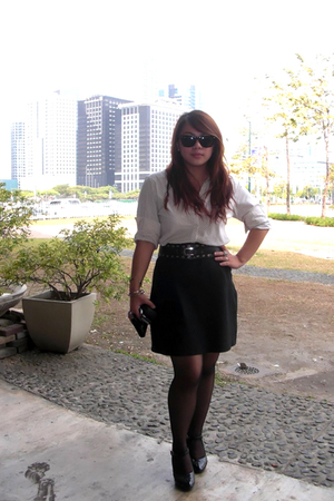 beige blouse - black skirt